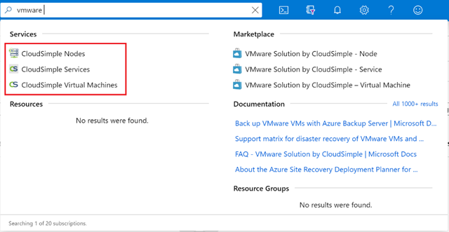 "Searching for ""vmware"" in the authenticated Azure portal"