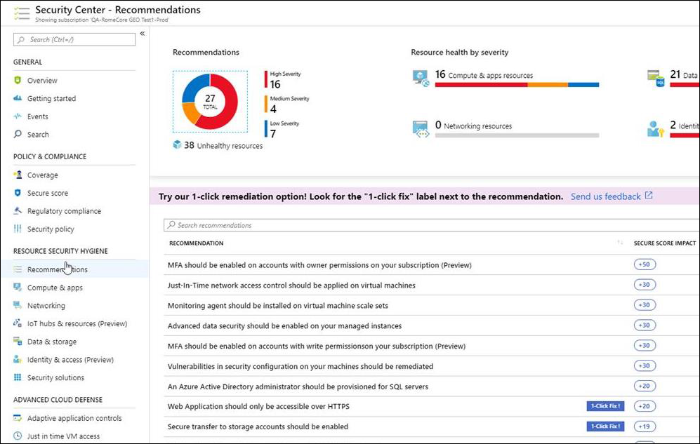 Azure Security Center single click remediation and Azure Firewall JIT support