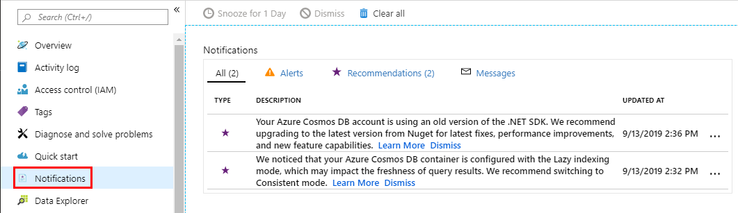 Azure Cosmos DB recommendations keep you on the right track