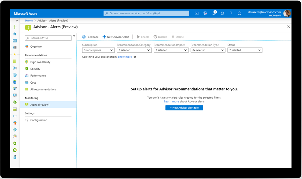 Stay on top of best practices with Azure Advisor alerts