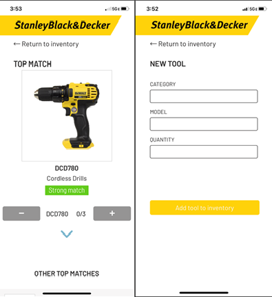 Captures of the user interface of the inventory app