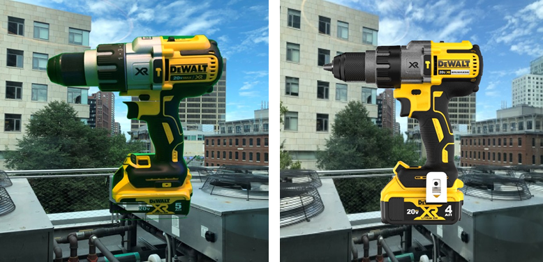 Image generated in front of a green screen vs an image rendered from CAD