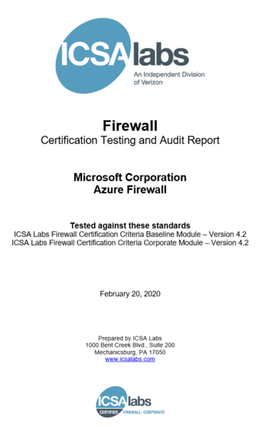 New Azure Firewall certification and features in Q1 CY2020
