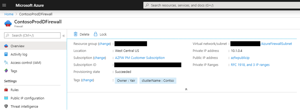 Azure Firewall with custom private IP address ranges