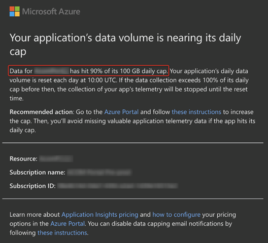 Data volume capacity alert showing that the data storage threshold is exceeded.