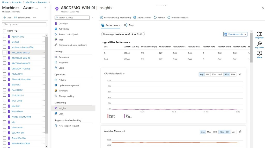 Viewing Azure Monitor for an Arc enabled server from within the Arc blade