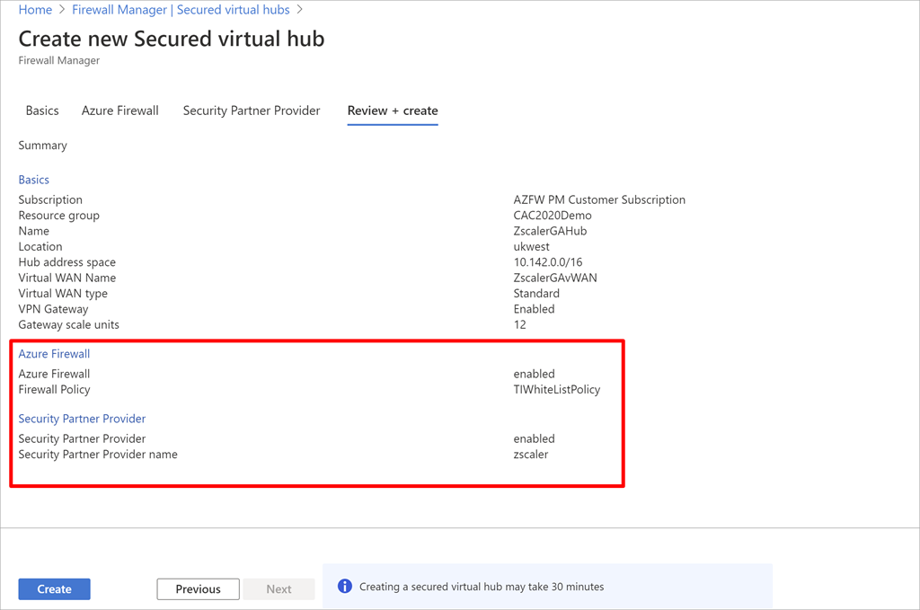 New secure virtual hub configured with two security providers.