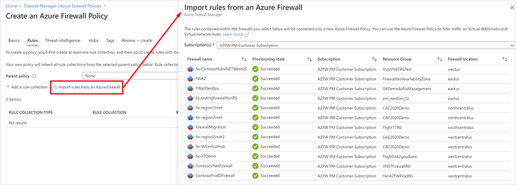 Example of importing rules from an existing Azure Firewall.