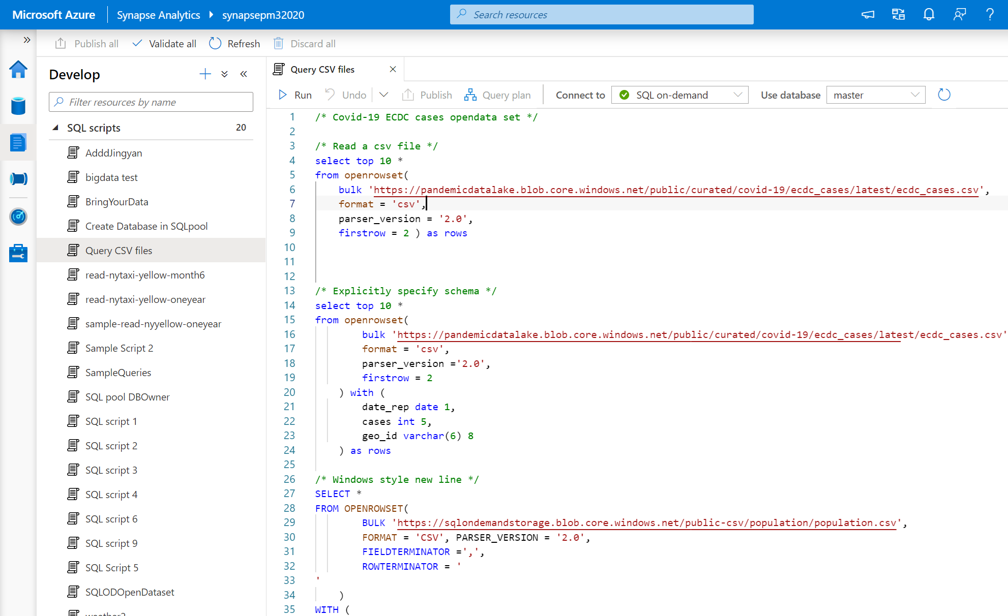 Sample SQL scripts open in the Develop hub of the Azure Synapse Studio under SQL scripts.