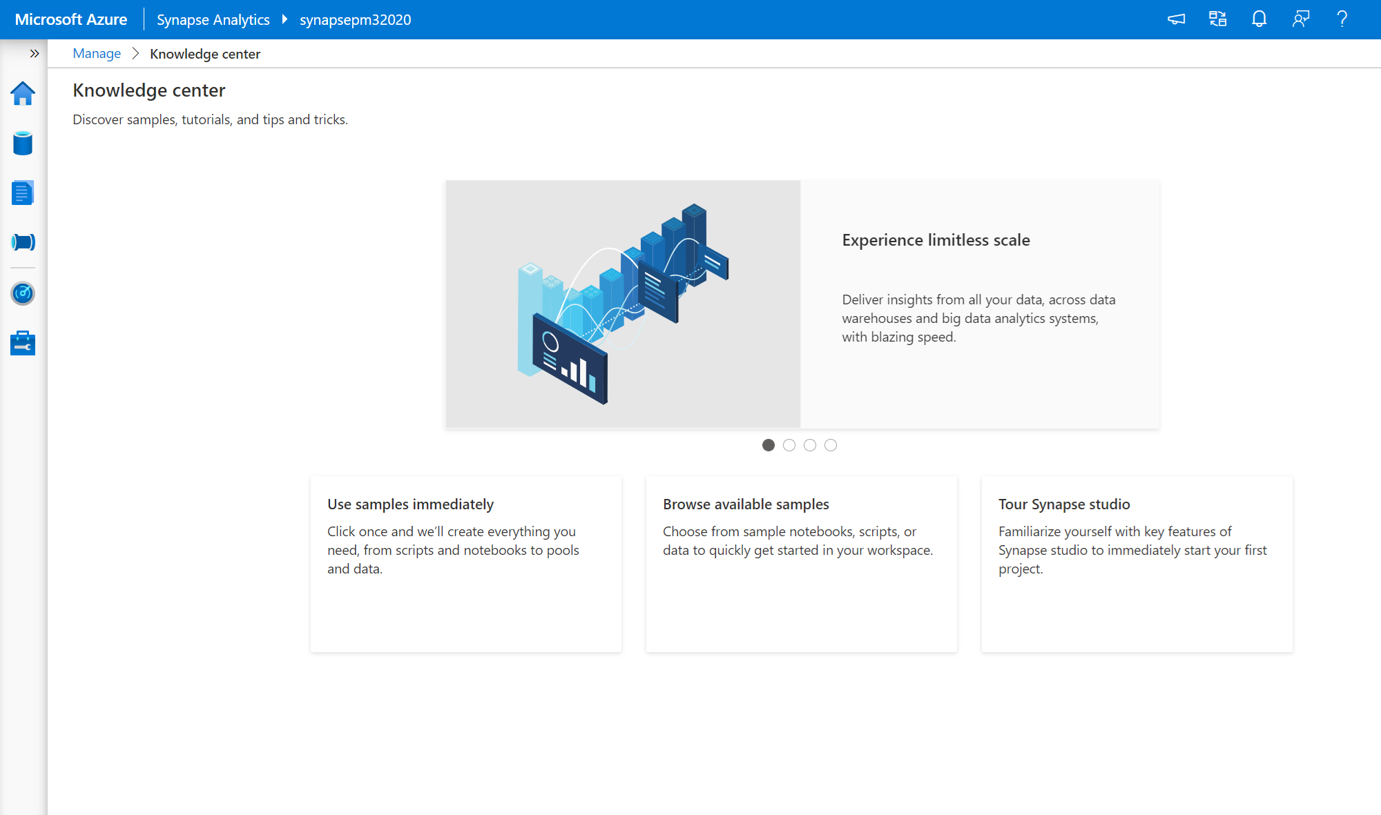 Quickly get started with samples in Azure Synapse Analytics
