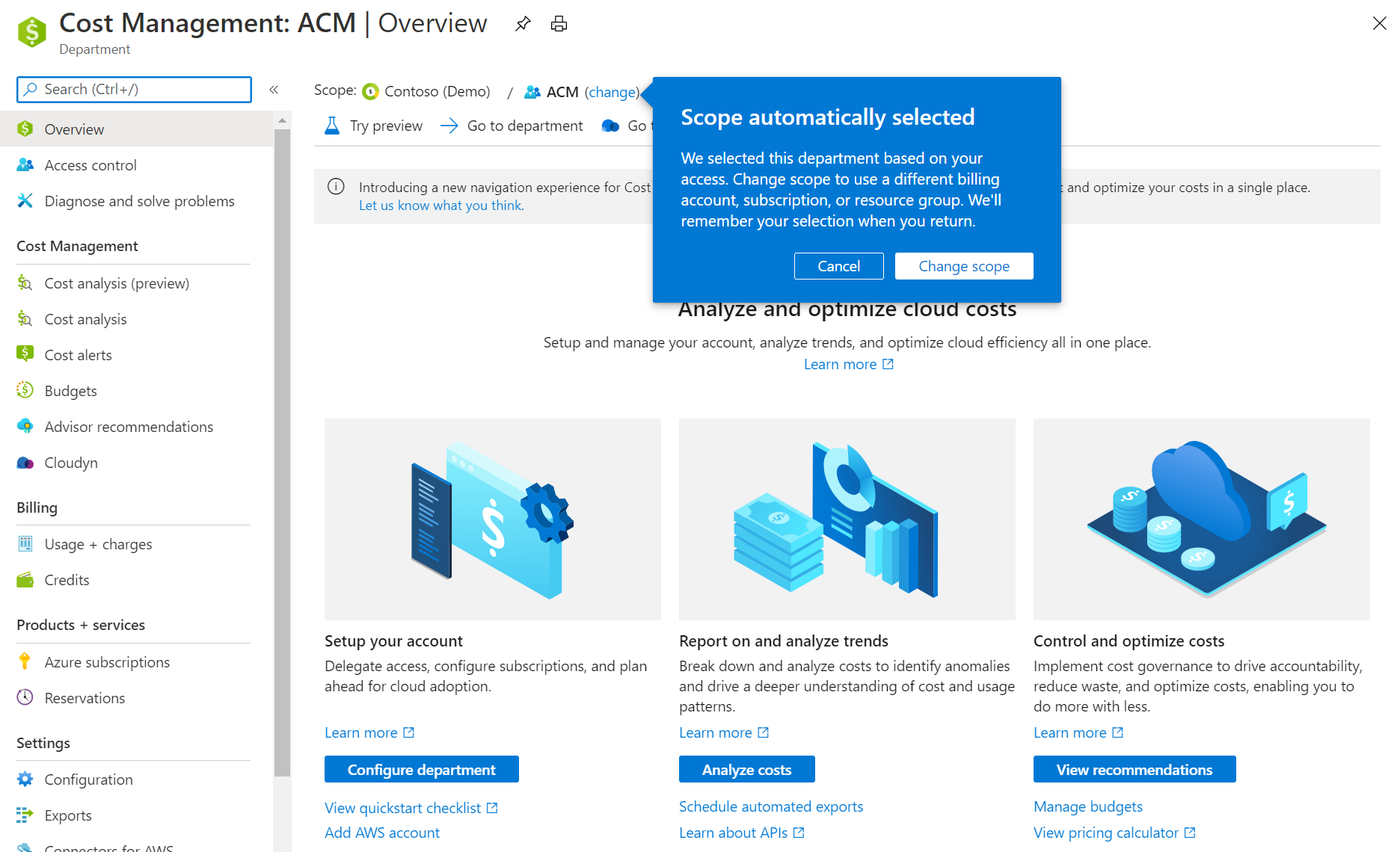 You will see a new notification when a scope is automatically selected the first time you use Azure Cost Management