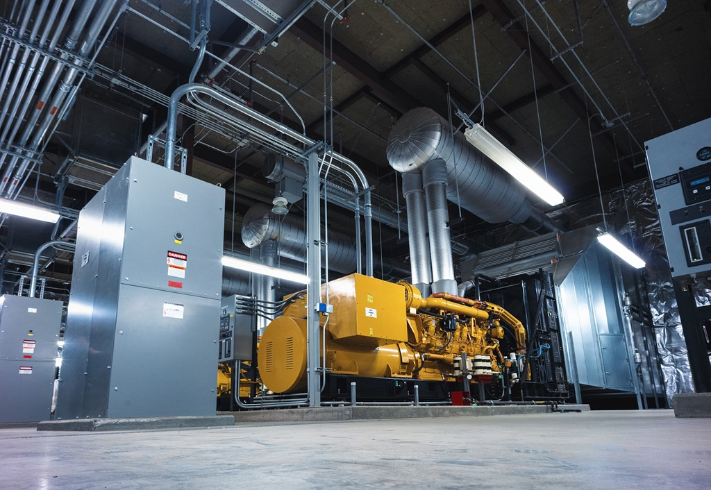 Microsoft datacenter diesel generator, used as a power backup supply for uninterrupted service and 24/7 operations